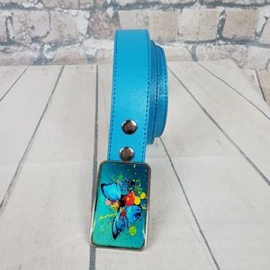 Vintage 90s Leather Belt Turquoise Butterfly Sz 32